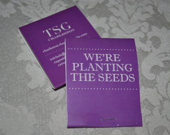 """75 Customized Forget Me Not Flower Seed Marketing Matchbooks - """"Business in Bloom"""""""