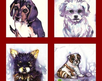 "Custom Portrait "" Dog"" MADE to ORDER Art Original Watercolor Animals Pets  ""Dogs """
