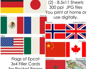 Disney Flags of Epocot Digital Journal Cards - Epcot Filler Cards - for Project Life and Pocket Page Inserts - INSTANT DOWNLOAD