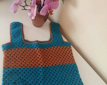 Knitted blouse, summer knitted crochet sweater, women's knitted T-shirt