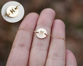 Tiny initial necklace,Custom monogram Necklace,tiny exquisite initial,hand stamped,custom font,Bridesmaid gift,wedding,flower girl gift