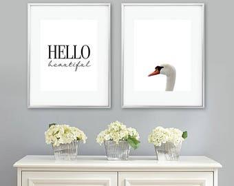 Swan Nursery Art Print Set. Swan Bedroom Art Print Set. Girl Nursery Decor. Swan Art. Swan Print. Swan Decor. Hello Beautiful. NS-880