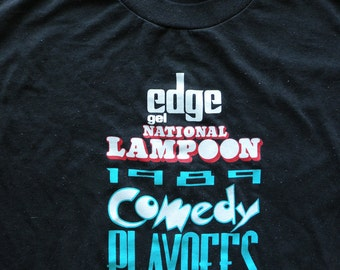 National Lampoon Vintage Black 80s T Shirt / 1989 Comedy Playoffs Women Sz Large
