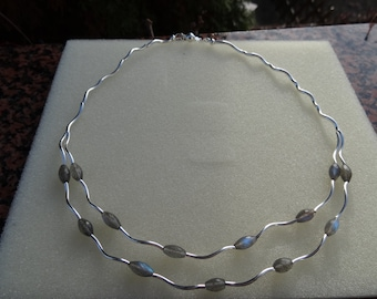 Noble, double row necklace with Labradorite and silver