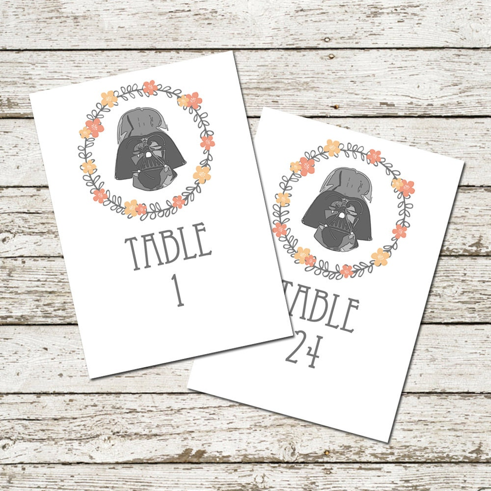 Star Wars Wedding Table Numbers Darth Vader Printable