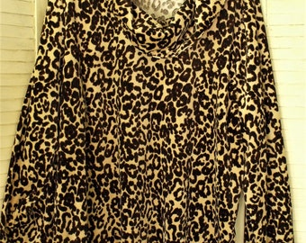 Leopard Tunic/ 3X Stretch Velveteen Top/ Retro Leopard  Blouse/ Thrifted Glamour/ Funky Funwear/ Plus Size Tunic/ Shabbyfab Couture