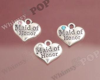 1 - Tibetan Silver Rhinestone Bridal Party Heart Tag Charms, Maid of Honor Charm, 16mm x 14mm (6-3E)