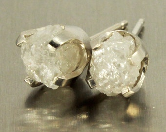 14K White Gold Large Studs with White Diamonds - Uncut Raw Rough Diamonds - Natural Conflict Free Diamonds - Gold Posts