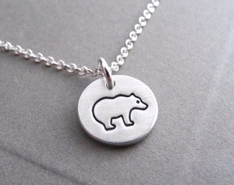 Teeny Tiny Bear Necklace, Little Bear Necklace, Fine Silver, Sterling Silver Chain, Made To Order