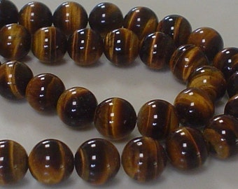 natural gemstone tiger eye gold and brown smooth round bead 10 mm / 15 inch