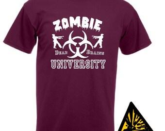Zombie University T-Shirt Joke Funny Tshirt Tee Shirt Gift