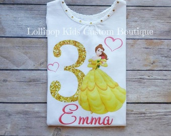 Belle, beauty and the beast  birthday white short sleeve top*