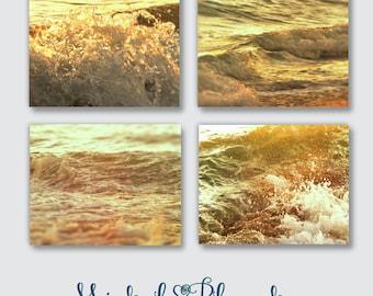 Sunset Ocean Waves, Abstract Photos,  Sunset on Waves, Beach Day Splashing Ocean Surf, Setting Orange Yellow Sun Evening Print Set