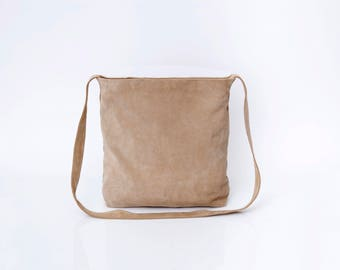 Beige Leather Tote, Suede Leather Bag, Suede Bag, Crossbody Tote, Women Bag, Lightweight, Carry On Bag, Tote Bag, Handmade Bags Women