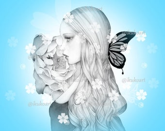 Rose Butterfly Girl - Grayscale Art Digital Stamp Image Adult Coloring Page Printable Instant Download