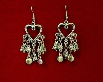 Vintage Style Dangle Heart Earrings-Hook Attachment-Silver Tone