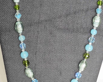 Vintage Blues & Olivine Glass Bead Necklace