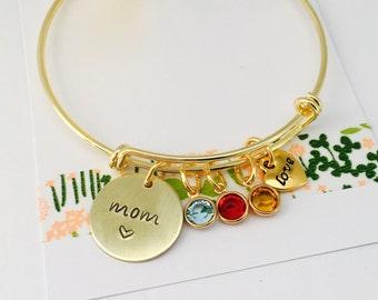 Personalized Mom Bracelet, Grandma Bangle Bracelet, Gold Mimi Bracelet, Grandma Bracelet Family Bracelet, Personalized Bracelet