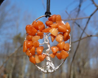 Wire-wrapped Tree of Life Pendant with Red Aventurine Gemstone Chips