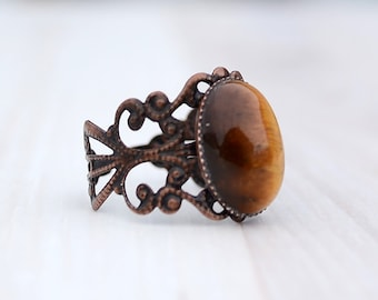 Tigereye copper ring, Tigereye ring, Tigereye brass ring, Ring copper tigereye, Copper tigereye ring, Oval cabochon tigereye ring.