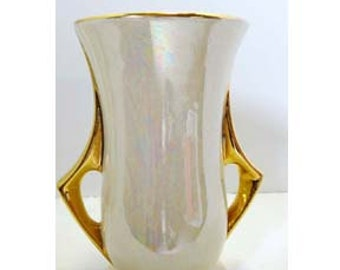 Lusterware Flower Vase Cream with Gold Leaf Porcelain Number L-60 Home and Garden Decor Vases Flower Vases