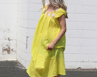 Vintage Crocheted Sundress / Cap Sleeve Canary Yellow Midi / 90's Shift Dress S/M