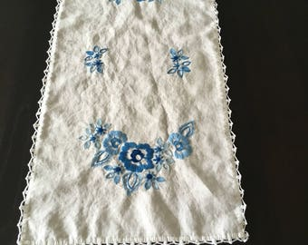 Vintage Embroidered Table Runner -Blue Flowers - Vintage Embroidered Dresser Scarf - Floral Pattern - Hand Embroidered - Crocheted Edging