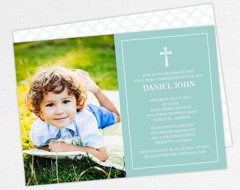 First Communion Invitation, First Holy Communion Invitation, Photo Communion Invitation, DIY Invite, PDF Invite, Boy Invite, Blue, Daniel