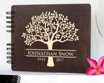 Funeral Guest Book Personalized Wooden Memorial Guestbook Made in USA  Black Mahogany Oak Wood Hardcover Finish Celebration of Life