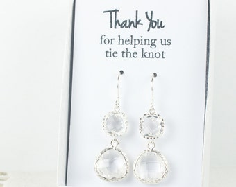 Long Crystal Silver Earrings, April Birthstone Earrings, Clear Silver Earrings, Bridesmaid Earrings, Crystal Wedding Jewelry