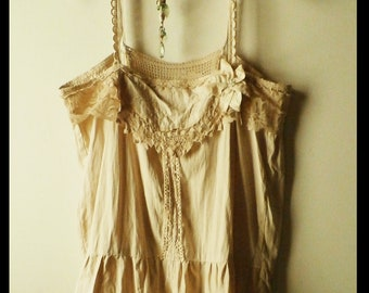 Cotton and Lace Camisole, Altered Couture From Vintage Laces and Fabrics