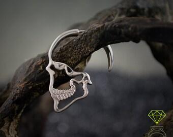 Silver Skull Earrings  Hoop earrings Skull profile earring Silver skull silhouette Gothic jewelry Unisex jewelry Handmade earrings