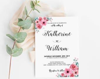 Pink Rose Wedding Invitation Printable Template, Editable Wedding Invitation, Pink Rose Wedding Invitation - Pink Floral Rosee : IDB003A
