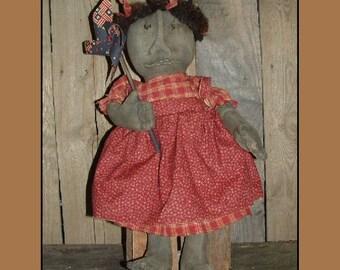 Primitive folk art black doll w pinwheel PDF epattern rag doll HAFAIR OFG Soft Sculpture 145