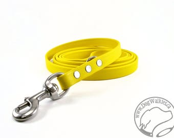 "Sunflower YellowBiothane Dog Leash - 5/8"" (16mm) - Choice of: Stainless Steel or Brass Hardware and Length 4ft, 5ft or 6ft (1.2m,1.5m,1.8m)"