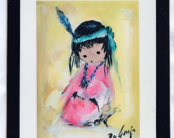 "Ted DeGrazia Laminated Print ""Esperanza"" //  Native American Southwest // Vintage 1970s Laminated Framed Art Mid-Century Modern Wall Hanging"