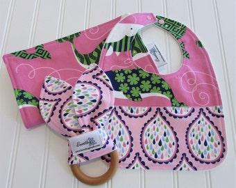 Newborn Gift Set/Infant Bib, Burp Cloth & Teether/True Blue/Organic Fleece Back