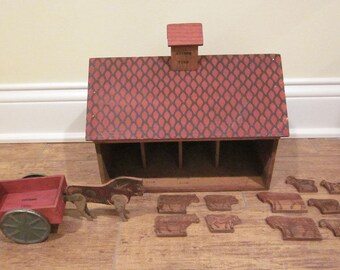 Early Wooden Converse Barn with Animals and Wagon