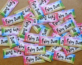 40 'Fairy Dust' mini labels for mini glass bottles, fairy crafts, dust, scrapbooking, paper crafts, cards. rainbow colour peel back sticker