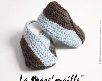 Booties wool baby blue and Brown handmade La Mare' mesh