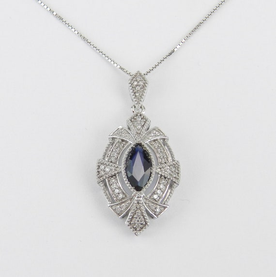 """Vintage Style Diamond and Sapphire Pendant Necklace 14K White Gold 18"""" Chain September Birthstone"""