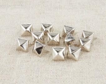 100Pcs Silver Tone Pyramid Square Studs 8mm / Pyramid Rivet Stud