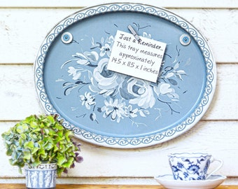Magnet Board from Vintage Tray! Ready to Hang! Oh So Sweet... Blue Tole Tray. Organized, Upcycled, Timeless...