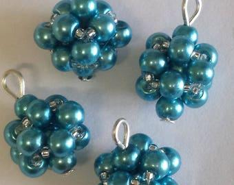 4 4mm blue glass pearl beads pendants