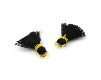 Small PomPoms 2 cm set of 2 black PO24