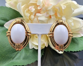 Napier White Lucite Cab Pierced Earrings, Statement Earrings, Gold White Earrings, Large Oval Earrings, Vintage Napier, Gift for Her