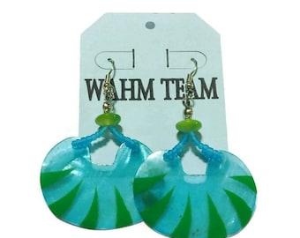 Shell Earrings, Beaded Earrings,  Painted Shell Earrings,  Dangle Earrings, Drop Earrings with Blue and Green Beads. Silver Wire Earrings