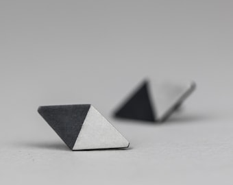 Polygonal slilver post earrings. Black ad white. Oxidised sterling silver. Ready to ship.