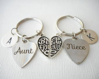 2 Aunt and Niece, Best Friends -Initial Keychains/ Aunt jewelry, Aunt gift, Kids Gift, Gift from Aunt, Gift for Niece, niece aunt jewelry