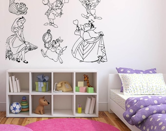 Wall Sticker Decals Alice In Wonderland Cartoon Rabbit Tea Time Cheshire Cat Girl Nursery Bedroom 1401b